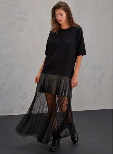 Pi π Tül Detaylı Elbise Siyah